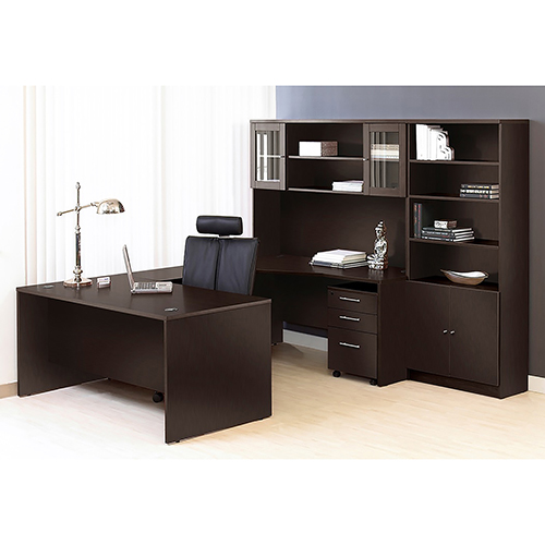 100 Collection Executive U Shaped Desk with Hutch and Bookcase-Left