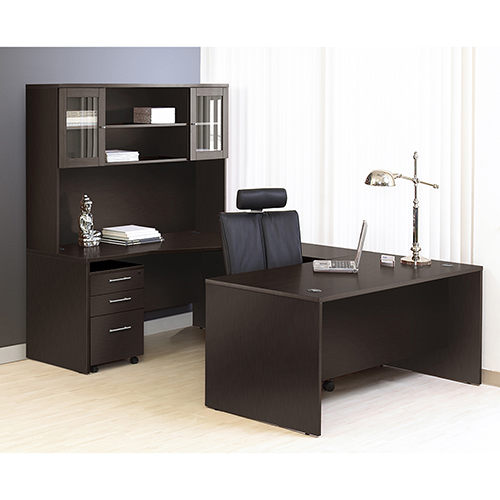 100 Collection Executive U Shaped Desk with Hutch-Right
