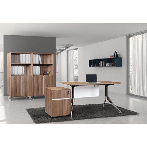 Unique Furniture 300 Collection Walnut Executive Computer Desk with Bookcase and Mobile Pedestal