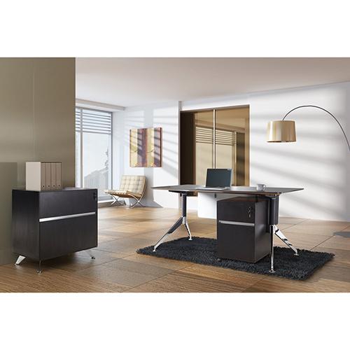 Unique Furniture 300 Collection Espresso Executive Computer Desk with File Cabinet and Mobile Pedestal