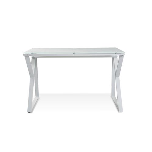 White Desk with Pure White Glass Top