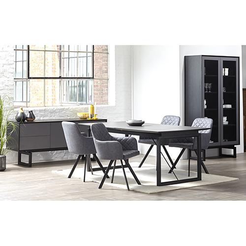Burano Black and Gray Italian Ceramic Extendable Dining Table