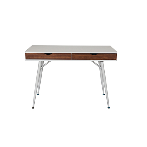 Unique Furniture Mid Century Modern White And Walnut Desk With Double Drawers