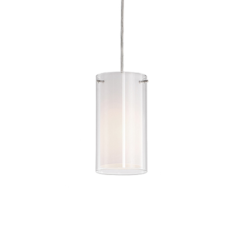 Brushed Nickel Four-Inch One-Light Pendant with White Glass
