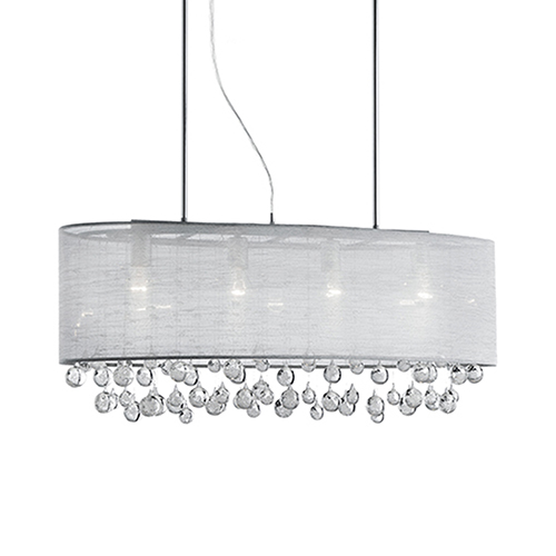 Chrome 36-Inch Six-Light Pendant with Grey Shade