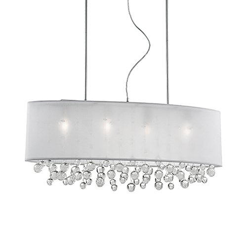 Chrome 36-Inch Six-Light Pendant with White Shade