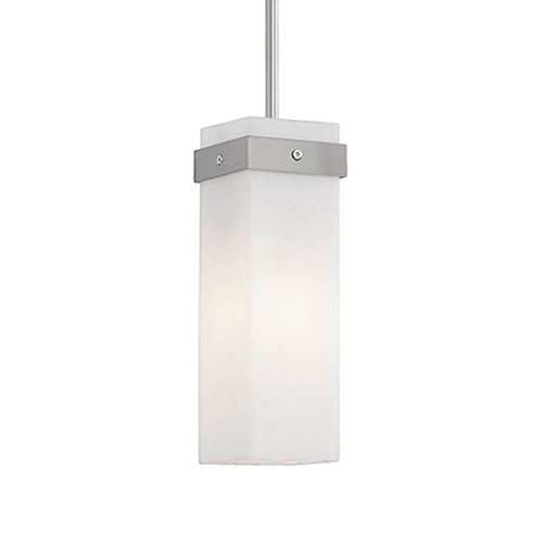 Brushed Nickel Three-Inch One-Light Square Pendant with White Opal Glass