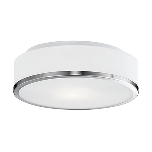 Brushed Nickel 11-Inch Two-Light Flush Mount with White Opal Glass
