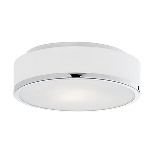 Chrome 11-Inch Two-Light Flush Mount with White Opal Glass