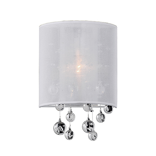 Chrome Eight-Inch One-Light Wall Sconce with White Shade