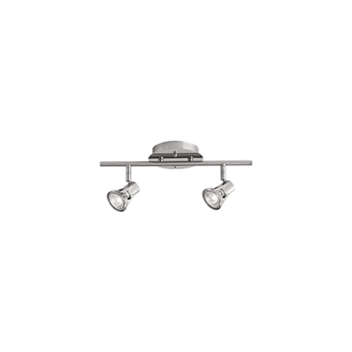 Brushed Nickel 15-Inch Two-Light Track Light with Clear Glass