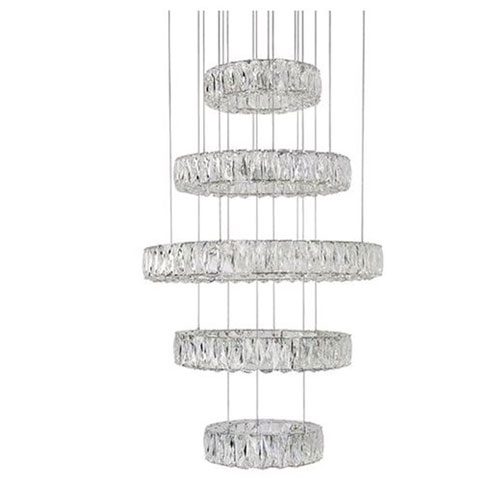 Chrome 120-Inch LED Five-Tier Chandelier