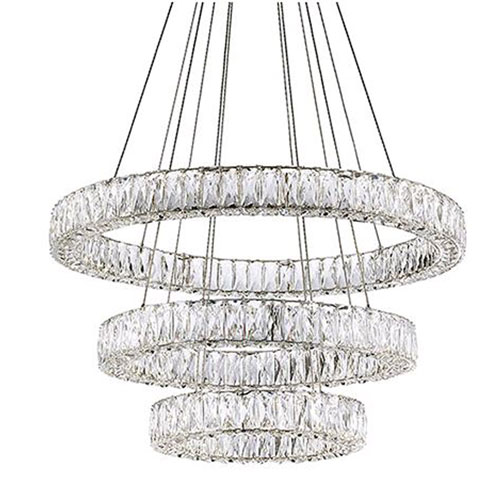 Chrome 120-Inch LED Three-Tier Chandelier