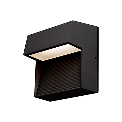 Byron Black Six-Inch One-Light Square Outdoor Wall Mount
