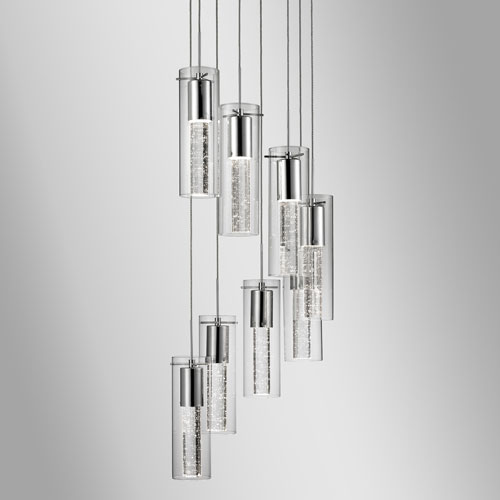 Chrome 84-Inch Eight-Light LED Pendant