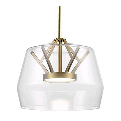 Deco Brass and Clear 11-Inch One-Light LED Pendant