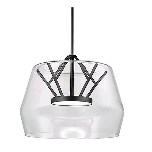 Deco Clear and Black 17-Inch One-Light LED Pendant