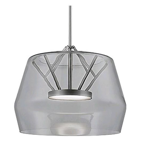 Deco Smoked and Nickel 17-Inch One-Light LED Pendant