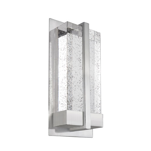 Nickel 12-Inch One-Light LED Sconce with Clear Bubble Encased Crystal