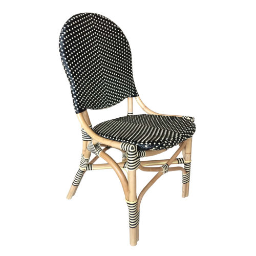 French Bistro Black and White Rattan Dining Chair