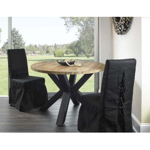 Giulia Teak atural and Iron 48-Inch Dining Table