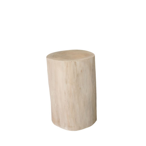 Whitewash and Natural Tree Stump 19-Inch Side Table