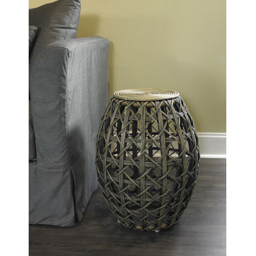 Natural 19-Inch Open Weave End Table