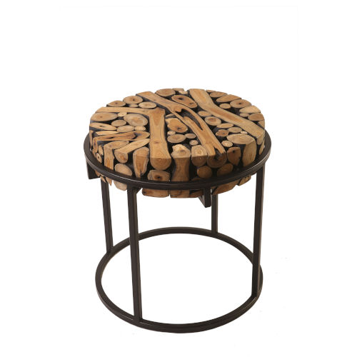 Safari Black and Natural 22-Inch End Table