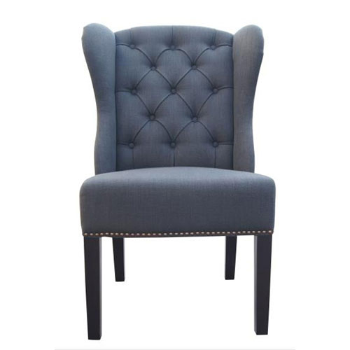 Naples Charcoal Linen Dining Chair