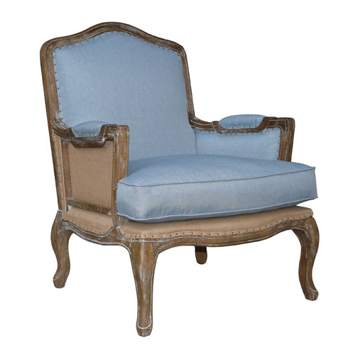 Smathers Beach Blue Linen Lounge Chair
