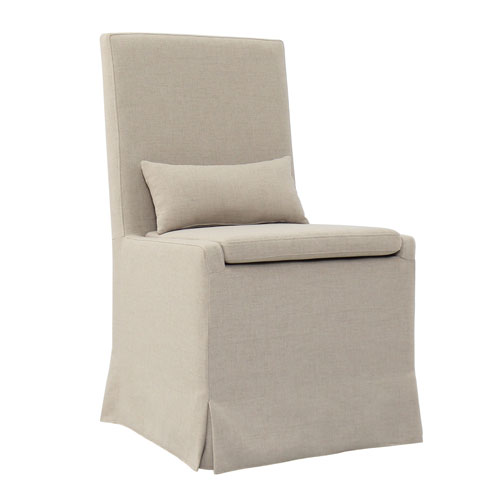 Sandspur Beach Brushed Linen Dining Chair with Casters