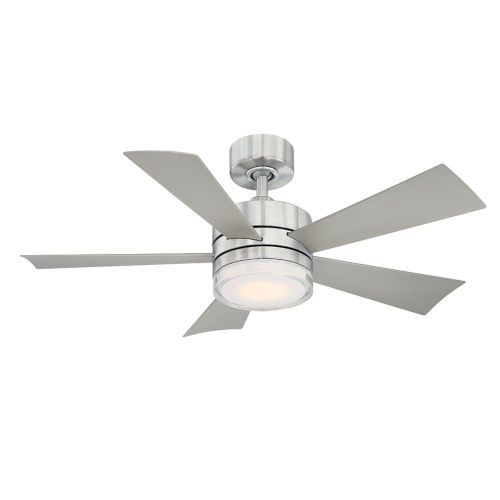 Wynd Stainless Steel 42-Inch 2700K LED Downrod Ceiling Fans