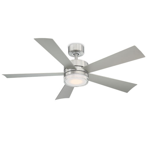 Wynd Stainless Steel 52-Inch 2700K LED Downrod Ceiling Fans