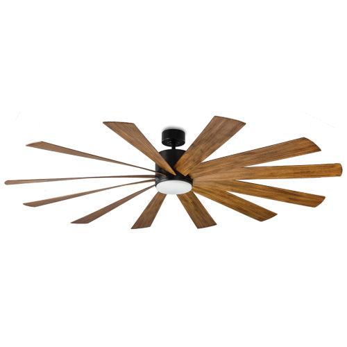 Windflower Matte Black 80-Inch 2700K LED Downrod Ceiling Fans
