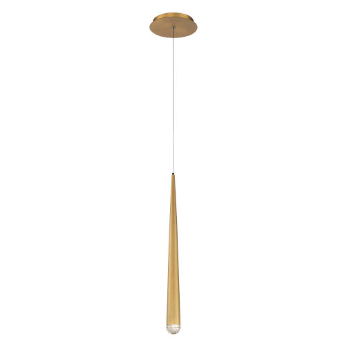 Cascade Aged Brass LED Mini Pendant with Crystal