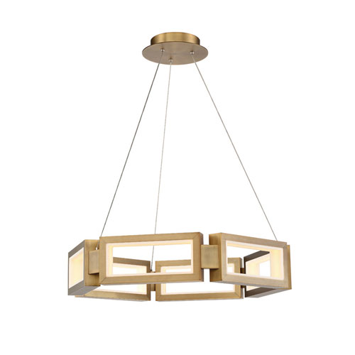 Mies Aged Brass 29-Inch LED Chandelier