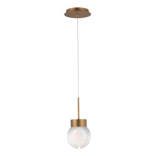 Double Bubble Aged Brass LED Mini Pendant