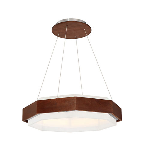 Modern Forms Koolhaus Dark Walnut 28-Inch LED Pendant