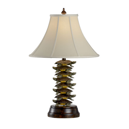 Bronze and Antique Silver One-Light 10-Inch Tiered Turtles Lamp