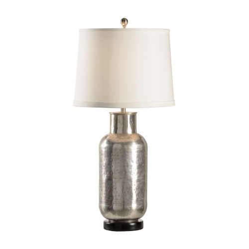 Off White and Silver One-Light 11-Inch Carved Bottle Lamp