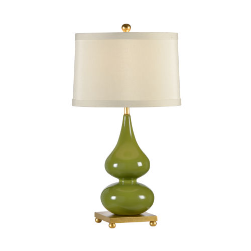 Light Taupe and Green One-Light 10-Inch Whitney Lamp