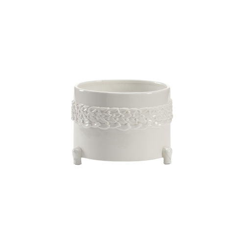 White 11-Inch Laurel Cachepot
