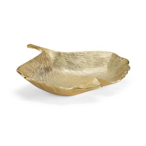 Gingko Warm Brass 14-Inch Decorative Tray