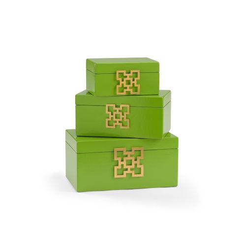 Green 14-Inch Hampton Boxes, Set of 3