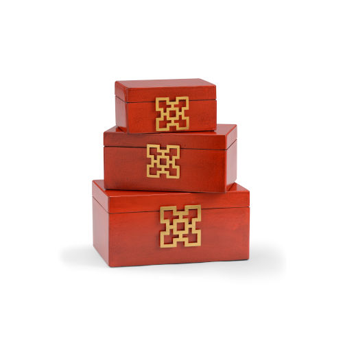 Red 14-Inch Hampton Boxes, Set of 3