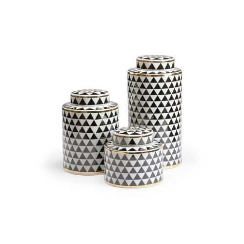 Black and White 8-Inch Triad Canisters, Set of 3