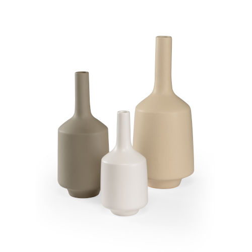 White and Gray 8-Inch Madsen Vases, Set of 3