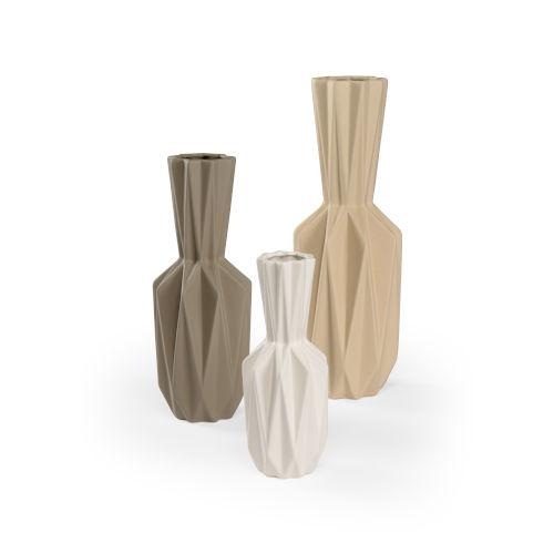 White and Gray 7-Inch Lerdorf Vases, Set of 3