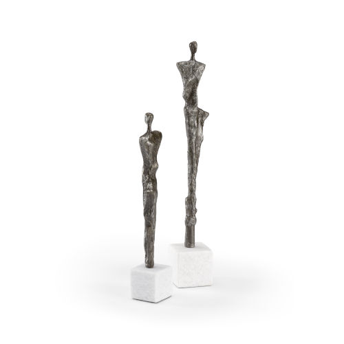 White and Black 4-Inch Runway Sculptures, Set of 2