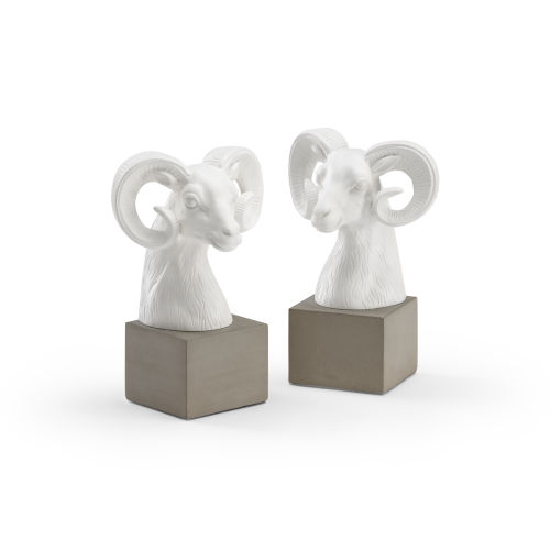 White 7-Inch Rameses Bookends Pair